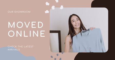 Plantilla de diseño de Online Showroom Ad with Smiling Woman holding Dress Facebook AD