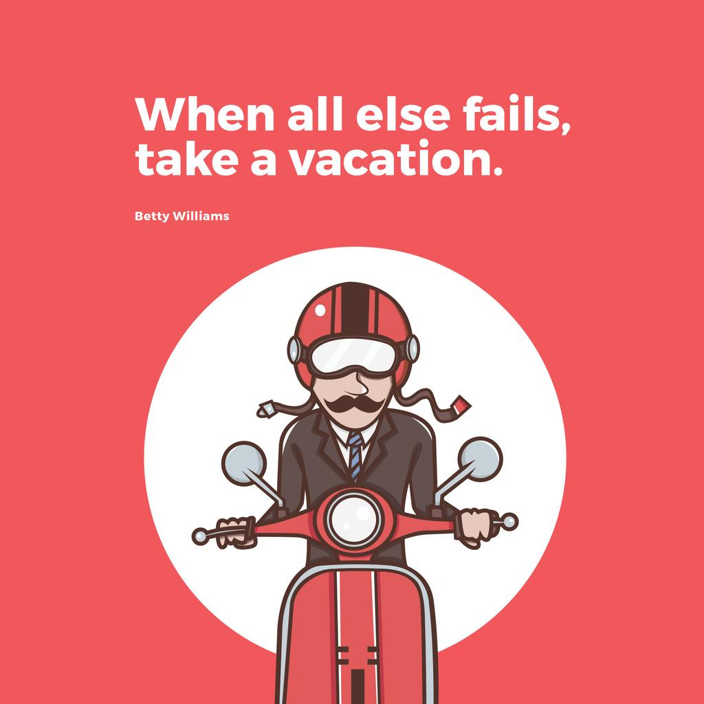 Man going on bike to vacation — Создать дизайн