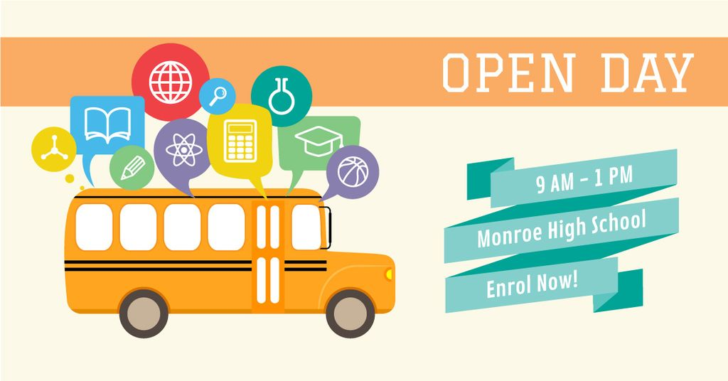 High school open day Ad with Yellow School Bus — Modelo de projeto