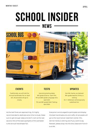 School News with Pupils on School Bus Newsletter Modelo de Design