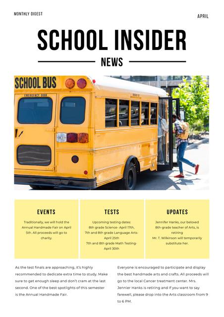 School News with Pupils on School Bus Newsletter Design Template