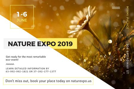 Nature Expo Announcement with Daisy Flower Gift Certificate Tasarım Şablonu
