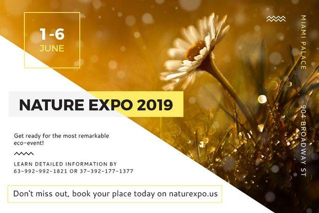 Plantilla de diseño de Nature Expo Announcement with Daisy Flower Gift Certificate