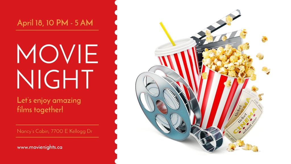 Movie Night Invitation with Popcorn | Facebook Event Cover Template — Create a Design