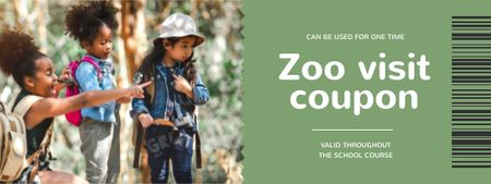 Zoo Visit Offer with group of Kids Coupon Modelo de Design