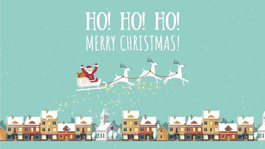 Christmas Greeting Santa Riding in Sleigh over Town — ein Design erstellen