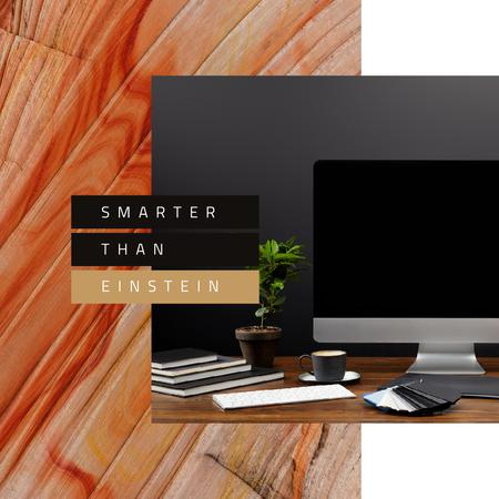 Template di design Working Table with Computer Instagram AD