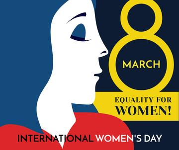 Women's day greeting with female profile