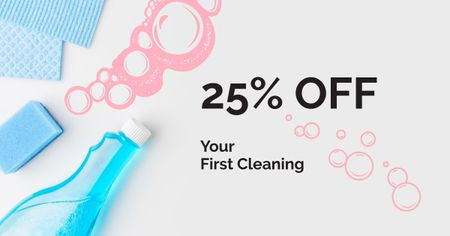 Plantilla de diseño de Cleaning Services promotion with Soap Facebook AD