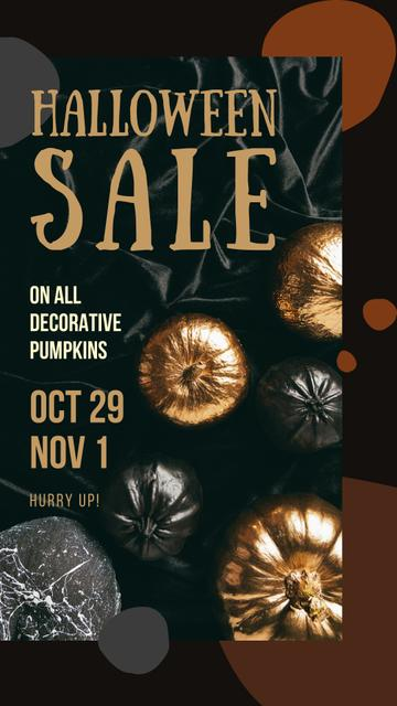 Designvorlage Halloween Sale Decorative Pumpkins in Golden für Instagram Story