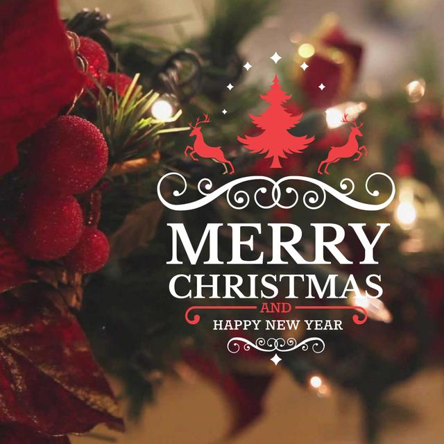 Ontwerpsjabloon van Animated Post van Blinking garland on Christmas tree