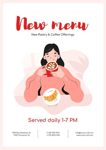 Designvorlage Girl enjoying Coffee and Croissant für Poster