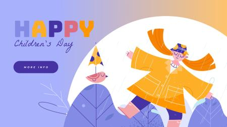 Plantilla de diseño de Happy girl dancing in the rain Full HD video