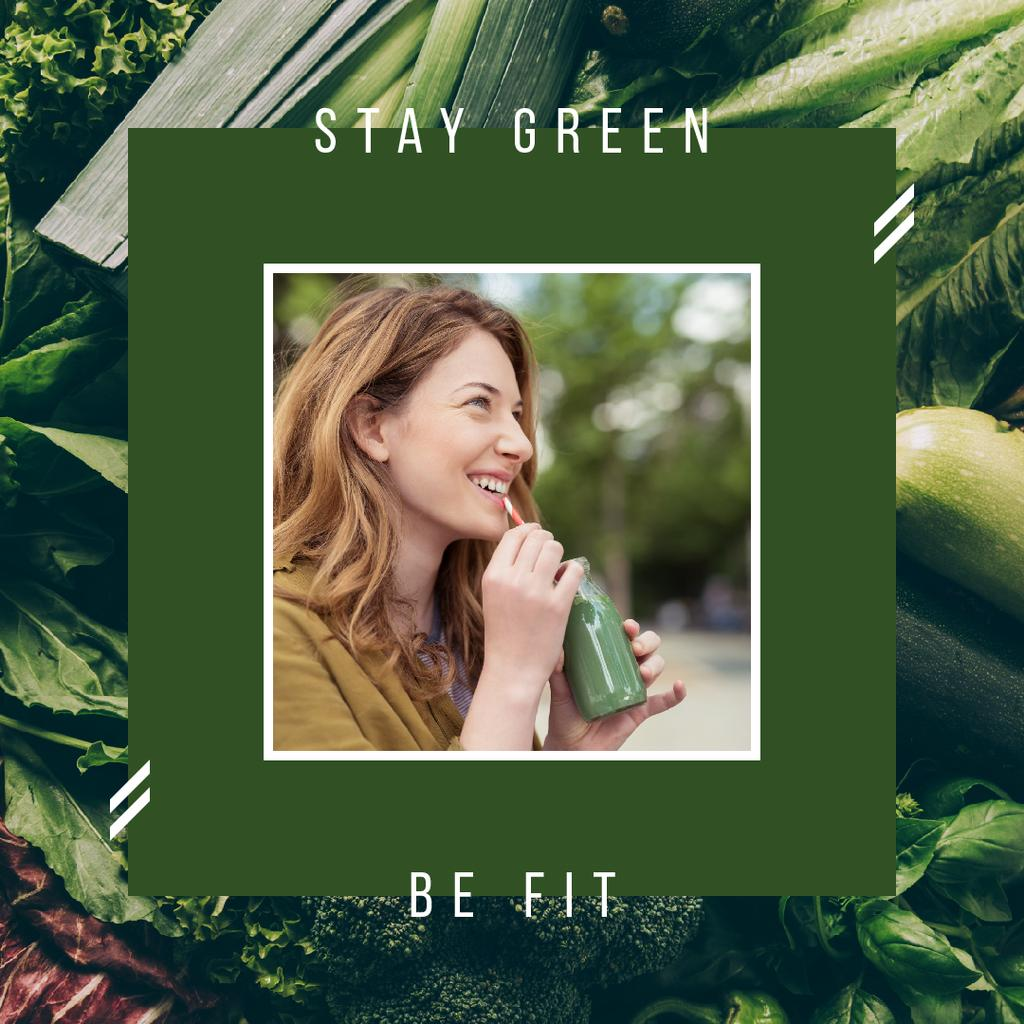 Girl drinking green smoothie — Create a Design