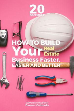 Building Business Construction Tools on Pink Tumblr Modelo de Design