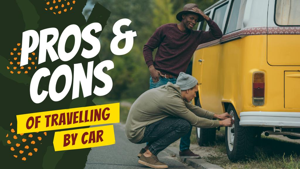 Travelling Tips People Changing Car Tire — Создать дизайн