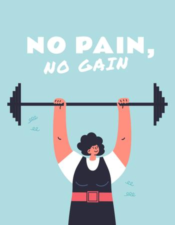 Ontwerpsjabloon van T-Shirt van Woman lifting the Barbell