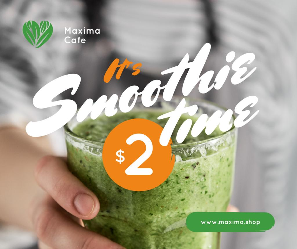 Healthy Food Offer Woman Holding Green Smoothie | Facebook Post Template — ein Design erstellen