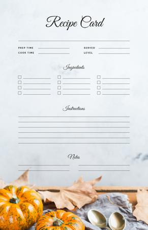 Pumpkins and Autumn leaves Recipe Card Modelo de Design