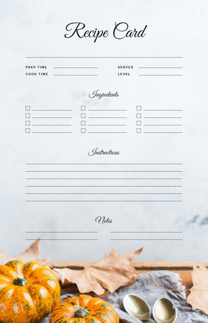Modèle de visuel Pumpkins and Autumn leaves - Recipe Card