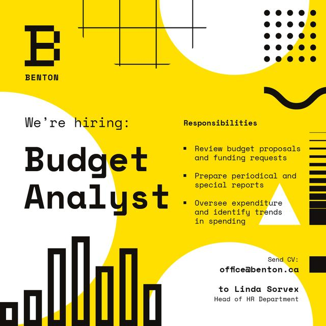 Designvorlage Job Offer on Geometric Background in Yellow für Instagram