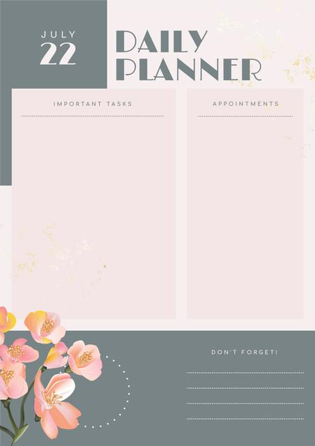 Daily Planner with Painted Flowers Schedule Plannerデザインテンプレート