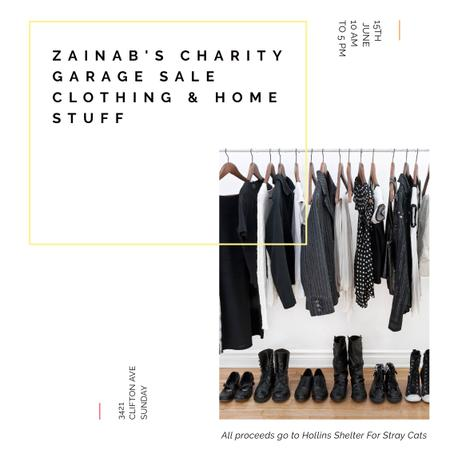 Charity Sale announcement Black Clothes on Hangers Instagram ADデザインテンプレート