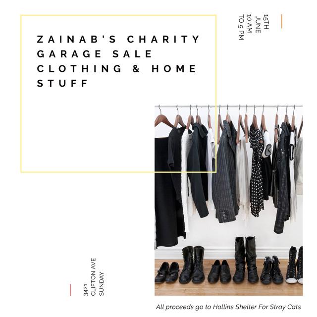 Plantilla de diseño de Charity Sale announcement Black Clothes on Hangers Instagram AD