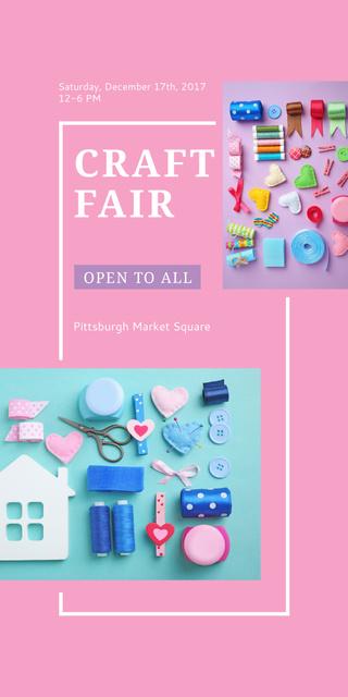 Craft Fair with needlework tools Graphic Tasarım Şablonu