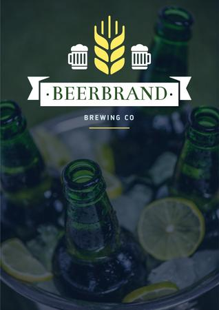 Plantilla de diseño de Brewing company Ad with bottles of Beer Poster