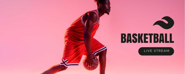 Basketball Stream Ad with Player on Pink Twitch Profile Bannerデザインテンプレート