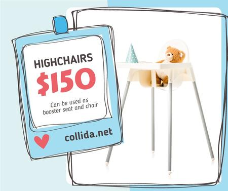 Ontwerpsjabloon van Facebook van Kids' Highchair with Teddy Bear