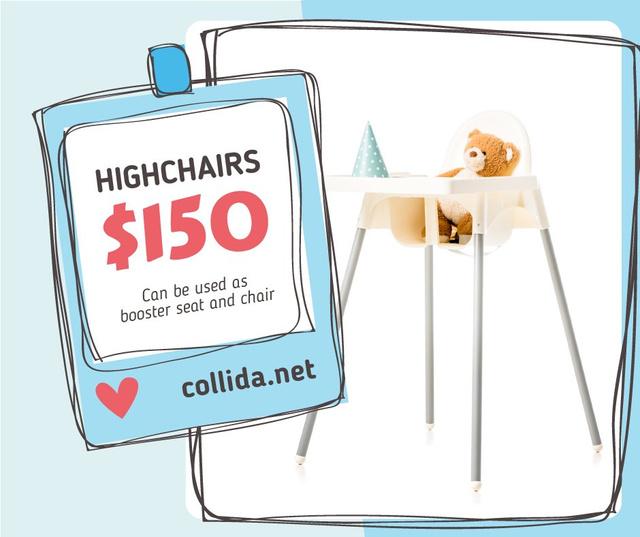Kids' Highchair with Teddy Bear  Facebook Design Template