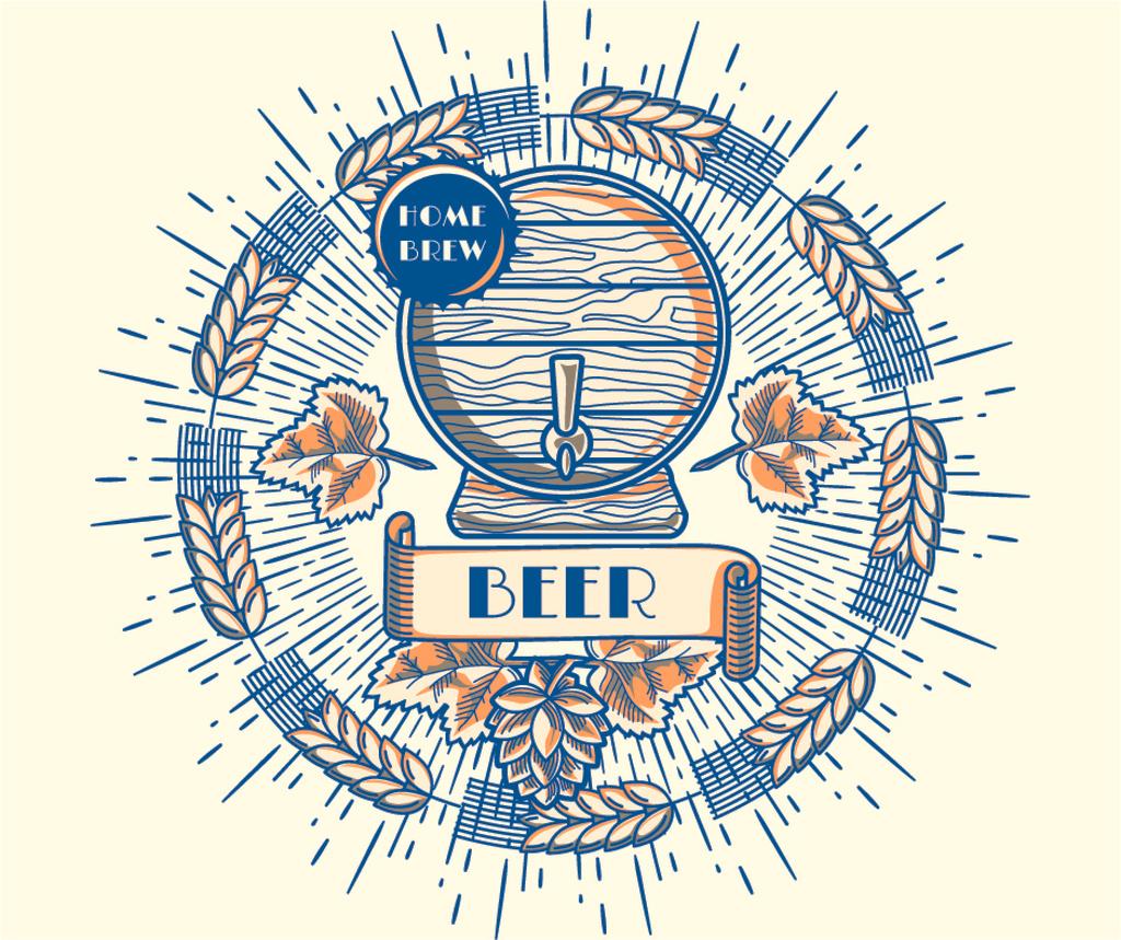 Brewery Ad Wooden Beer Barrel — Создать дизайн