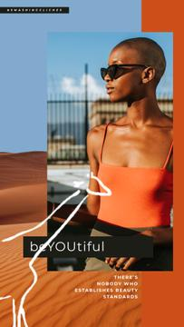 Fashion Ad Stylish African American Woman in Desert | Vertical Video Template