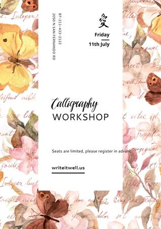 Calligraphy workshop Annoucement Poster Modelo de Design