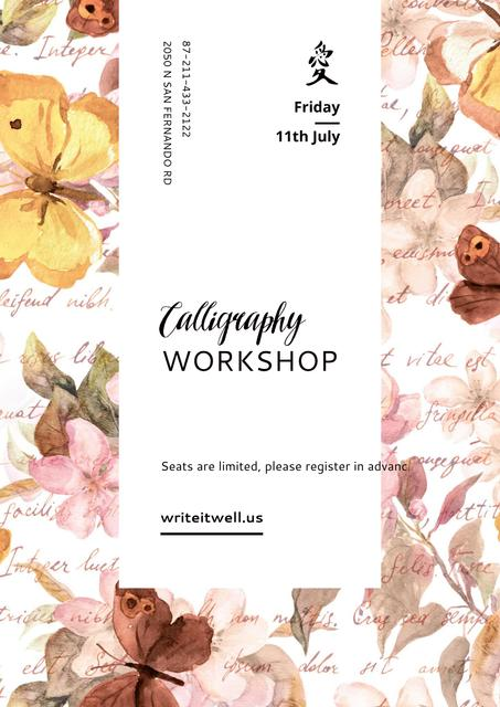 Template di design Calligraphy workshop Annoucement Poster