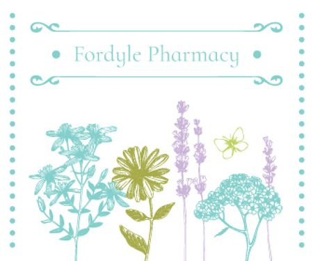 Template di design Pharmacy Ad with Natural Herbs Sketches Large Rectangle