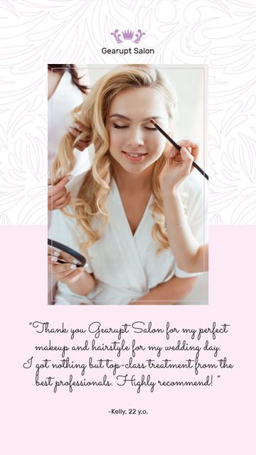 Beauty Quote Beautician Applying Makeup Instagram Story – шаблон для дизайна