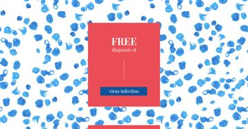 Free Diagnostic Ad with blue paint blots