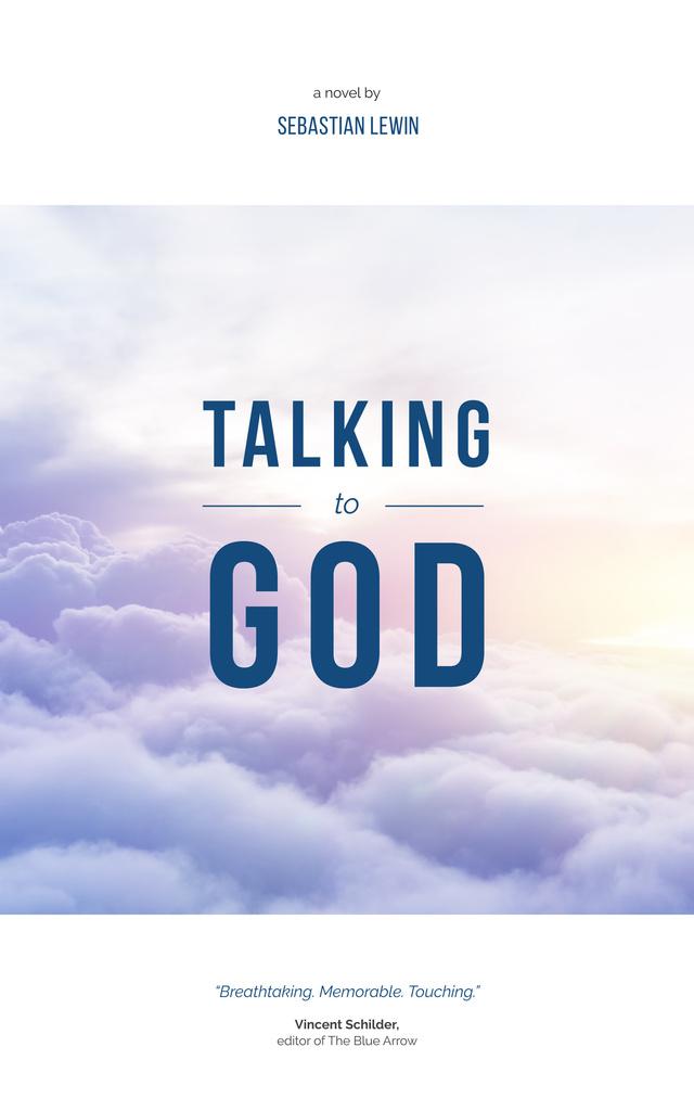 Ontwerpsjabloon van Book Cover van Faith Concept Flying over Clouds in Sky