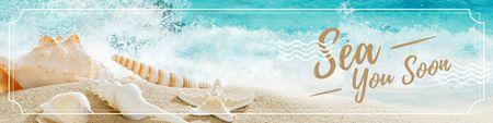 Ontwerpsjabloon van Twitter van Travel Inspiration with sandy seashore