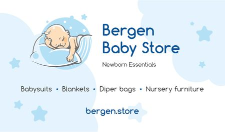 Plantilla de diseño de Baby Store Ad with Baby Sleeping Business card