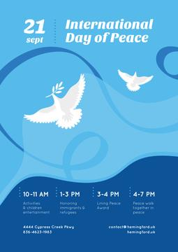 International Day of Peace Dove Birds on Blue | Poster Template