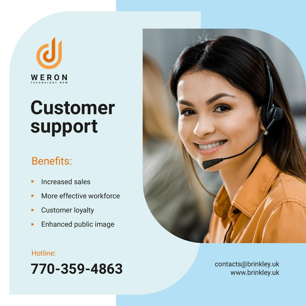 Customers Support Smiling Representative in Headset | Instagram Post Template — Create a Design