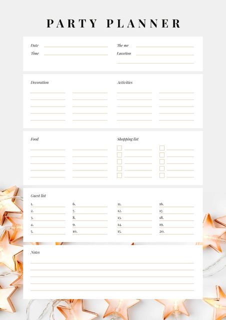 Party Planner with Festive Stars Schedule Planner Design Template