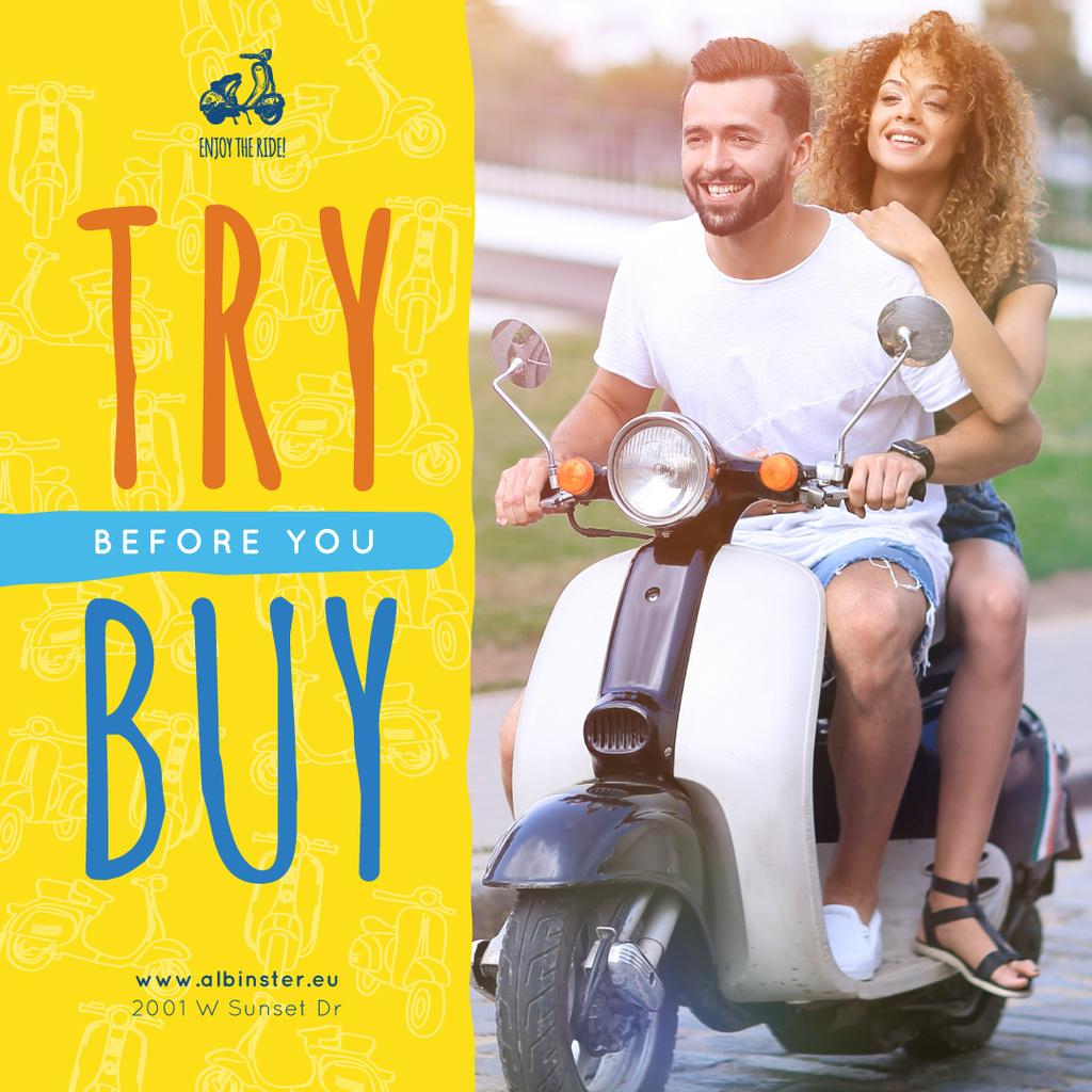 Couple riding scooter — Créer un visuel