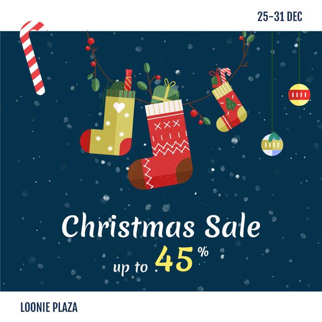 Christmas Sale Gifts in Hanging Socks Instagram Design Template