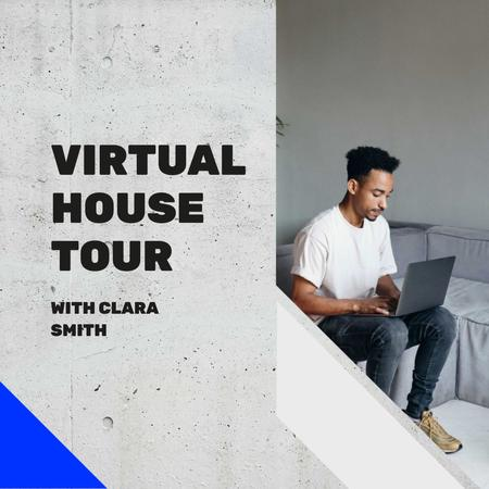 Plantilla de diseño de Man watching Virtual House Tour on laptop Instagram AD