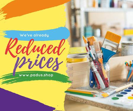 Art Shop Promotion with Supplies and Brushes Facebook Design Template